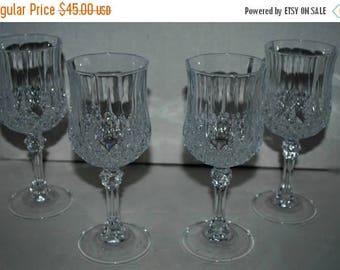 "weekend sale Cristal d"" Arques Longchamp wine glasses set of 4  vintage bareware"