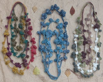 Extra long fiber necklace, multicolor statement crochet jewelry, OOAK