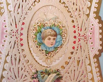 Beautiful Lacy Victorian Valentine Card with Sweet Little Scraps