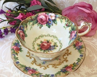 A Paragon Delight-English Bone China Teacup and Saucer in Tapestry Rose Pattern