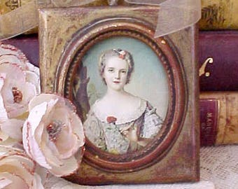Darling Vintage French Courtesan Lady Print in Shabby Cottage Italian Frame