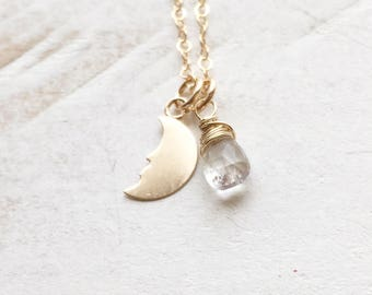 Celestial Crescent Moon with Moonstone Necklace, In 14K Gold Filled, Gift for her, Gift, Everyday Wear, Delicate Jewelry