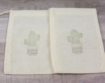Set of 10 Hand stamped Potted Cactus  Bag Muslin Party Favor Bags Eco Friendly 100% organic