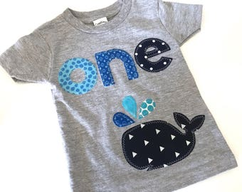 Nautical First Birthday Shirt Whale First Birthday Boys Shirt or baby bodysuit gift photo prop funny Aqua navy gray