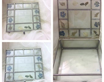 Vintage handmade stained glass jewelry box, stained glass jewelry box