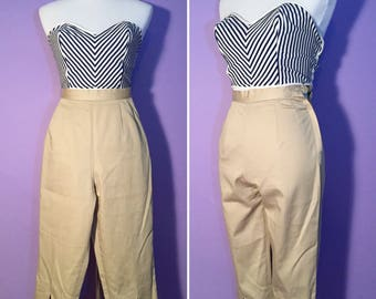 20% Off SUMMER SALE- 1950's Khaki Capris Pin Up Pants Pedal Pushers VLV High Rockabilly 50s