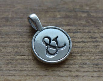 """1 -  """"&"""" Ampersand Disc Charm - Silver Toned Brass Layered Charm Minimal Jewelry Pendant Become (AR200)"""