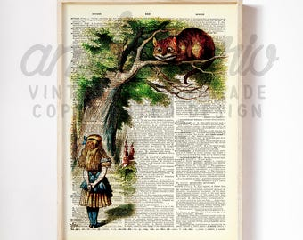 Original Alice and the Cheshire Cat Alice in Wonderland Inspired Classic Print on an Unframed Upcycled Bookpage