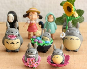 Set of 9 PCs studio Ghibli Totoro no face spirited away Terrarium Garden Miniature doll house miniature cake topper