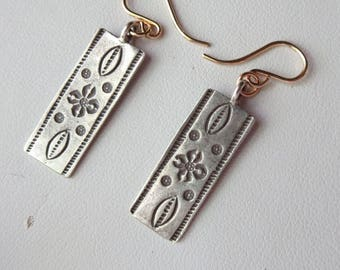 Hill Tribes Silver and Gold Filled Rectangle Etched Earrings