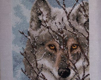 Cross stitch, finished 5x7 wolf portrait, mixed media, wolves, animals, home decor, art & collectibles earthspalette