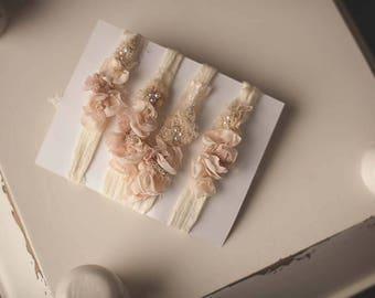Blush Pink Floral Headband Tieback Newborn Toddler headband photography prop