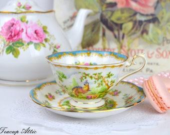 Royal Albert Blue Chelsea Bird Teacup and Saucer, Vintage English Bone China Tea Cup, Wedding Gift,  ca. 1941