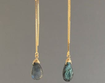 Labradorite Box Chain Threader Earrings in Gold or Silver