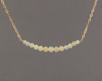 Ethiopian Opal Beaded Gold Necklace also in Silver or Rose Gold