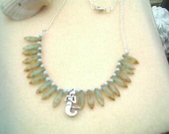 Mermaid Necklace, Beach Necklace, Beaded, Pale Seafoam Aqua Glass Czech Beads, Seaside, Beach, Sand, Handcrafted, Mermaid Charm, Silver