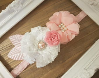 Pink and White Lace Flower Headband, Newborn Headband, Infant Headband, Shabby Chic, Vintage, Pearl Headband, Pink Flower Lace Headband.