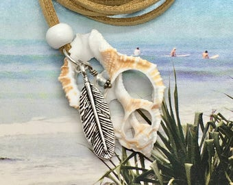 boho jewelry, shell necklace, beachcomber beachy necklace