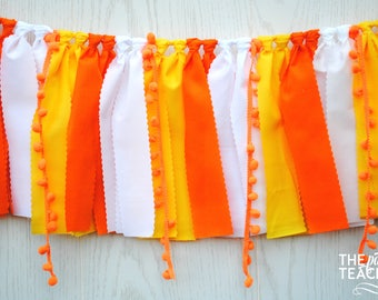 Candy Corn Fabric Garland - Ships FREE - Candy Corn Bunting - Candy Corn Garland - Candy Corn Banner - Halloween Bunting - Halloween Party