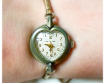 Vintage Mid Century Heart Shaped Watch for Girls