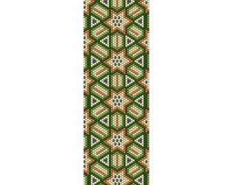 Geometric 50 Peyote Bead Pattern, Bracelet Cuff Pattern, Bookmark Seed Beading Pattern, Miyuki Delica Size 11 Beads - PDF Instant Download