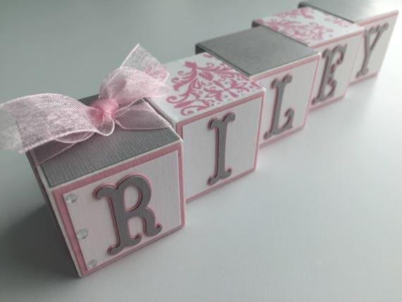 Baby Gift Name Blocks : Custom baby name blocks gift shower newborn nursery