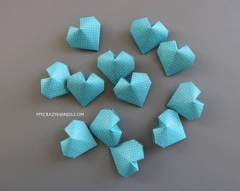 12 origami balloon hearts | blue wedding hearts || bridal shower decors | || bridesmaids gifts | blue heart favors -cotton white