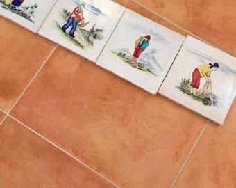 Large Vintage Italian Wall Tiles - Great Condition - Interior or Exterior - Hand Painted - Made in Italy