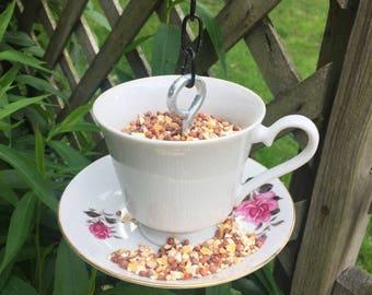 Teacup Bird Feeder - Pink Rose