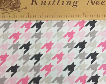Pink and Gray Houndstooth  - Fabric