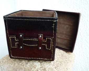 Vintage,small,cube,brown leather box with lid,square shaped,real leather box.