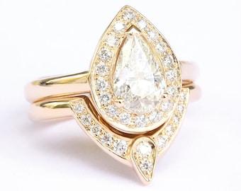 Forever One Moissanite Pear Engagement Ring & Matching Diamond Wedding Ring Side Band, Bridal Set, Third Eye Rings Diamond Bridal Set