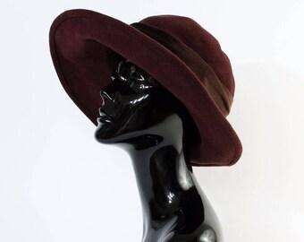 "Vintage Women's Brown Felted Wool Wide Brim Hat Festival Medium 56cm 22"""