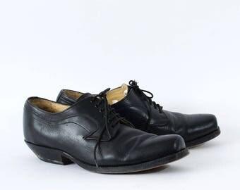 Vintage Black Real Leather Western Shoes Formal Men's UK 10 EU 44 US 11