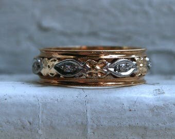 Beautiful Vintage 14K Yellow Gold Diamond Floral Eternity Band - 0.14ct.