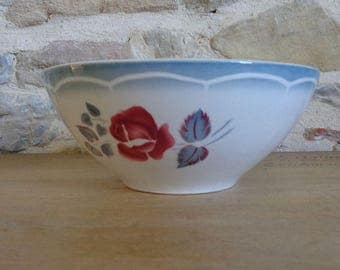 """Large serving bowl by Digoin Sarreguemines """"Magali"""" pattern with pink flowers and blue leaves"""