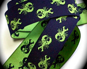 """Lobsterr  Woven Jacquard Ribbon 1""""  - Navy and Lime Green"""