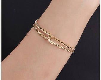 ON SALE Box chain gold or silver bracelet in asorted colors