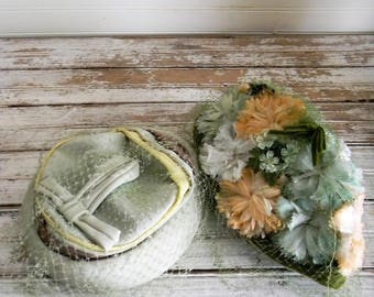 Vintage Hats, Lot of 2 1960s Hats, Salvage Quality Hats, Crafts DIY, Repair, Floral 1960s Cap, Pillbox Hat, Hat with Veil, Green Vintage Hat