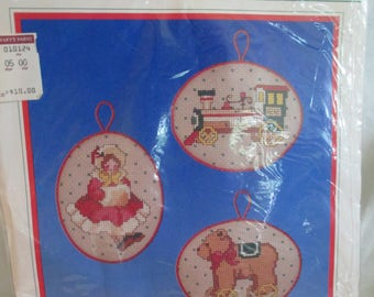 Vintage Heirloom Treasures counted cross stitch ornament kits opened and complete