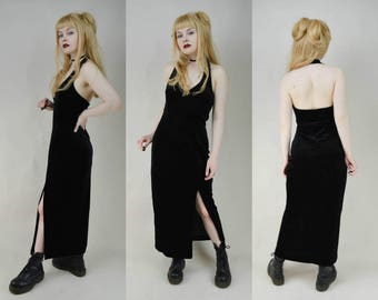 90s Grunge Goth Black Velvet Halter Neck Maxi Dress S