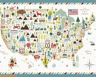 Coast To Coast Fabric Panel by Whistler Studios for Windham Fabrics - Map Panel (43004P-X) - 1  Panel
