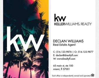 no photo Keller Williams real estate business cards - thick, color both sides - FREE UPS ground shipping