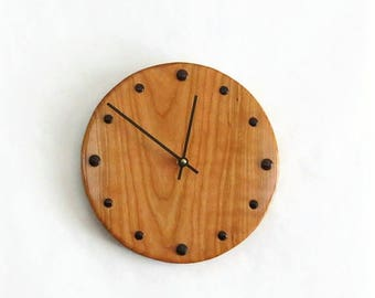 Wall Clock, Cherry Wood Clock, Reclaimed Wood,  Home and Living, Home Decor, Clocks