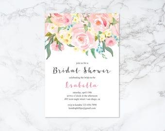 Printable Watercolor Floral Bridal Shower Invitation