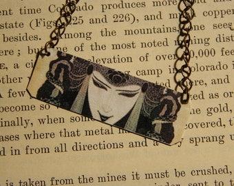 Art necklace Aubrey Beardsley jewelry art deco jewelry mixed media jewelry