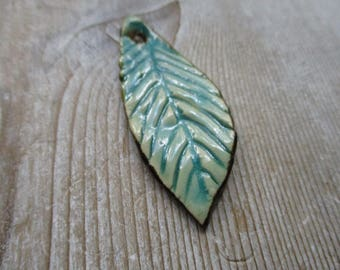 Leaf Pendant  aqua turquoise brown rusty  pottery ceramic pendant