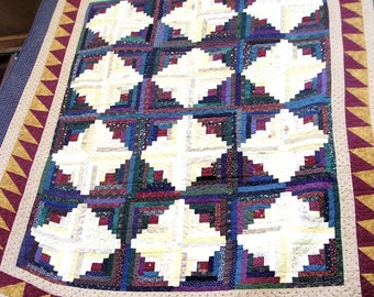 Queen or King Size Hand Made Log Cabin Quilt
