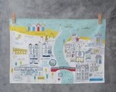 Whitby Tea Towel - North Yorkshire art - Whitby art - Coastal town art - Illustrated tea towel - Whitby jet - Whitby abbey