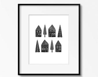 Houses 8x10 printable - housewarming gift - black and white art - DIY home office inspiration wall - printable wall art